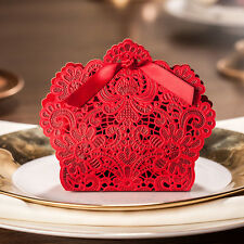 50x Red Laser Cut Hollow Candy Box Wedding Party Favors Gift Bags with Ribbon