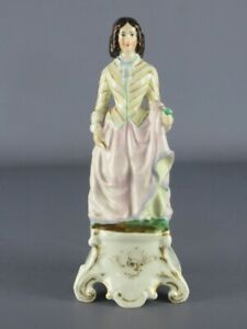 Antique Statue Porcelain French Of XIX Century Figure Woman With Flower