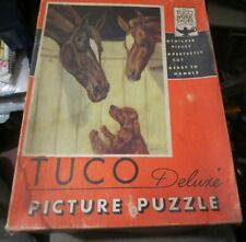 """vintage TUCO Deluxe Picture Puzzle Horses with Dog """"Natural Understanding"""""""