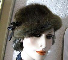 Alter Pelzhut Pelzkappe Echtpelz Pelzmütze braun mit Leder-Schleife 59cm Vintage