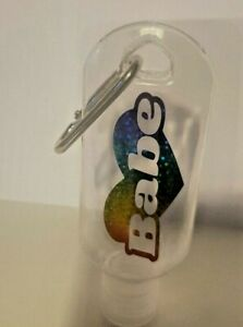 Babe Personalised Hand Gel Anti-Bac Bottle & Clips Bag School Gym Travel Gifts