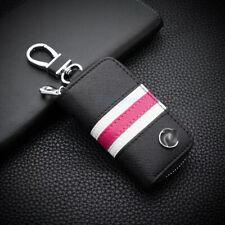 For Mercedes-Benz Tricolor Stripe leather Car Key Holder Keychain Ring Case Bag