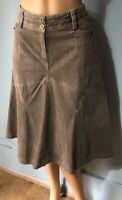 Next Womens Flared Corduroy Skirt Pockets Front Zip Uk Size 12 Beige Great Cond