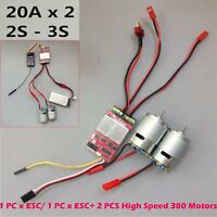 20A x 2 Bidirectional Brushed ESC Dual Way W/ 380 Motor for RC DIY Car / Boats