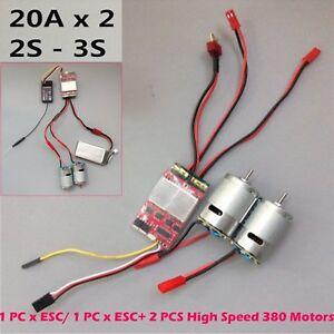 20A x 2 Bidirectional Brushed ESC Dual Way W/ 380 Motor for RC DIY Car / Boats