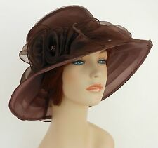New Church Kentucky Derby Wedding  Party Organza  Dress Hat 3188 Brown