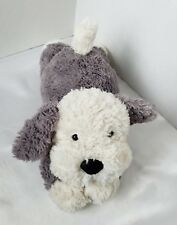 "Jellycat Tumblie Puppy Dog Playful Plush Stuffed Beanie Grey 13"" Laying Small"