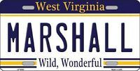 Marshall West Virginia State Background Metal Novelty License Plate