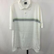 Mint Nike Dri-Fit Uv Mens L Ivory White Stripes Running Tennis Golf Polo Shirt