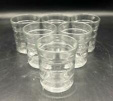 "Set of 6 Clear Glass Ring Pattern 3.75"" Juice/Water Glasses"