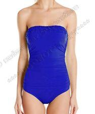 Jantzen Tummy Control Pintuck Bandeau One Piece Swimwear Swimsuit Maillot 8 Nwt