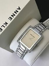 Anne Klein AK/2839SVSV Women's Silver Tone Crystal Accent Bracelet Watch NWT