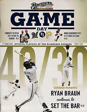 RYAN BRAUN ON COVER MILWAUKEE BREWERS 2013 OFFICIAL GAMEDAY PROGRAM ISSUE #9