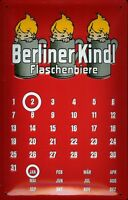 Berliner Kindl Calendario Letrero de Metal 3D en Relieve Tin Sign 20 X 30CM