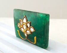 FINE 105CTS NATURAL EMERALD FACETTED  DIAMOND 22KGOLD JADAU GEMSTONE FOR PENDANT
