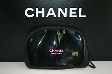 CHANEL  SET OF 3 PATENT BLACK & PINK  SNOWFLAKE MAKE UP CASE & BOX