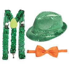 S. Patrizio Verde Con Lustrini Fedora, verde con paillettes e bretelle & Arancione Cravatta a Farfalla