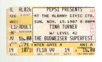 Vintage 1987 Tina Turner Concert Ticket Stub Albany Georgia Civic Ctr Nov. 15