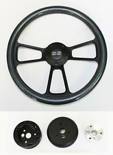 "1964-66 Chevy II 2 Nova Impala Carbon Fiber on Black Steering Wheel 14"" SS Cap"