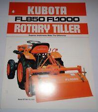 Kubota FL850 FL1000 Rotary Tiller Brochure used on L185 to L345 B5100/6100/7100