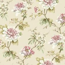 Wallpaper Cream White Blue Purple Pink Floral on Green Leaf Vine on Cream Faux