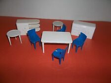 AWESOME VINTAGE DOLLHOUSE KITCHEN FURNITURE 9-PC TABLE=CHAIRS-CUPBOARDS-SM.TABLE