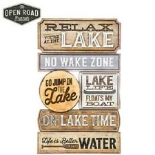 Rustic At the Lake Wood Country Wall Art Sign Decor Water Nature
