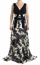 NWT CEDRIC CHARLIER Black White Long Dress Gown Printed gown Ball IT42/US8