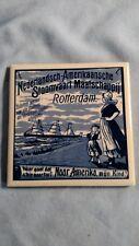 Dutch American Steamship Company Souvenir Tile Coaster- SS Rotterdam - Delft