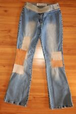 Joe Boxer Jeans Blue Denim Leather Accents Patches Flare Size 7 Juniors L33""