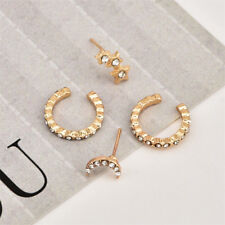Gold Women Girls Moon Star Shape Crystal Rhinestone Stud Earrings Jewelry Z