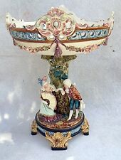 """Antique French Majolica 12"""" Pedestal Centerpiece Bowl Compote Man & Woman Tree"""