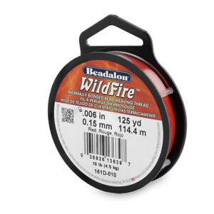Beadalon Wildfire Beading Thread .006in+.008in 20YD&50YD & 125YD 6Colors& Cutter