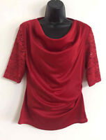 NEW Ex ROMAN Red Lace Sequin Front Twist Formal Scoop Neck Blouse Top Size 10-18