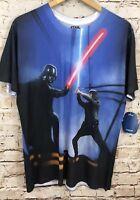Star Wars shirt mens large sublimation polyester luke saber darth new C9