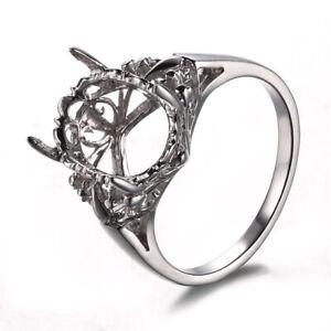 10K White Gold Enggagement Wedding Vintage Ring Semi Mount Setting 9x12mm Oval