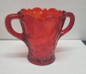 "Vintage Mosser Inverted Strawberry Two Handle Amberina Spooner 5"" Tall"