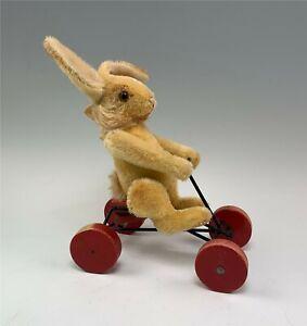 Vintage 1950s Steiff Hansi Plush Blonde Mohair Rabbit on Wheels, Working
