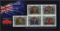 New Zealand NZ 2018 MNH WWI WW1 Armistice Day World War I 5v M/S Military Stamps