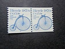 1982 Coil Line Pair, 5.9 cent, #3 Plate Number, Mint/NH/Fine, 1870s Bicycle