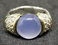 David Yurman 18K Yellow Gold 925 SS Capri Chalcedony Diamond Cable Ring Size 6.5