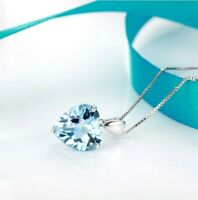 925 Sterling Silver Necklace With Aquamarine Heart Pendant UK Seller
