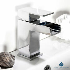 Waterfall Square Basin Mono Mixer Sink Tap Chrome Solid Brass With Waste