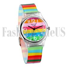 Rainbow Color Stripe Kids Children Wrist Watch Boy Girl New Baby Cartoon Watches