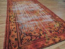 Modern 6x9 Rug Vintage antique wash faded look  area rug Orange wool shabby chic