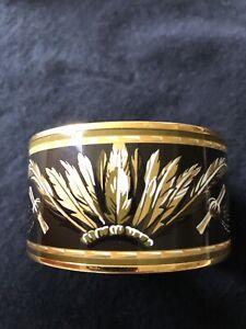 Hermes Black And Gold Extra Wide Enamel Bracelet size 65