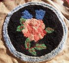 Antique Punch Needle Rug Wool Chair Seat American PINK ROSE What is It? folk art