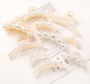 Women New Pearl Hairpin Large Charm Hair Clip Resin Hair Claws Girls Accessories