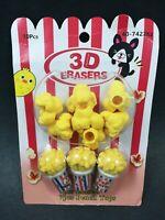 3D School Erasers & Pencil Tops ~ 10pcs total ~ Cute Popcorn Theme ~ Brand New