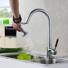 Sink Lever Mixer Tap Kitchen Pull Out Swivel Spray Spout Faucet Brass Chrome